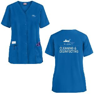 Ladies Cleaning and Disinfecting Cherokee Front Snap Smock